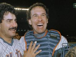 Gary Carter, right, celebrating the Mets' 1988 National League East title with Keith Hernandez, was a cornerstone of the Mets' 1986 World Series champions after starring for 11 years with the Expos.