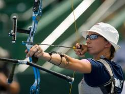Jennifer Nichols aims for the target during the women's bronze medal match against Germany at the archery World Cup in Ogden, Utah, on June 24.
