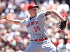 Mat Latos threw his second consecutive complete game to improve to 7-2 on the season.
