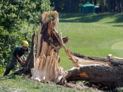 Workers along the 14th fairway cut up a tree damaged during overnight storms that delayed the start of Round 3 of the AT&T National at Congressional Country Club on Saturday in Bethesda, Md.