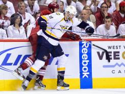 Paul Gaustad, front, was acquired from the Buffalo Sabres at the trade deadling last season.