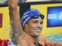 Dara Torres reacts after swimming in the women's 50-meter freestyle semifinal at the U.S. Olympic swimming trials Sunday in Omaha.