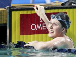 Missy Franklin reacts to winning the 200-meter backstroke at the Duel in the Pool in Atlanta on Dec. 16, 2011.