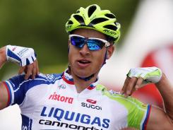 Peter Sagan of Slovakia celebrates after winning stage one of the 2012 Tour de France.