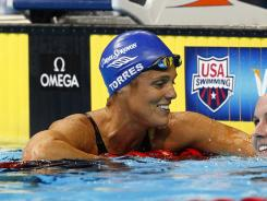 Dara Torres after advancing from the womens 50-meter freestyle semifinals Sunday night during the U.S. swimming trials in Omaha.