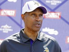 Minnesota Vikings head coach Leslie Frazier talks with the media on May 4.