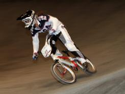 Alise Post of the USA at UCI BMX World Championships in England on May 25, 2012.