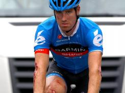 Tyler Farrar of the Garmin-Sharp team was the last rider to cross the finish line after he was involved in a crash in the final 3 kilometers of Stage 5 of the Tour de France on Thursday.