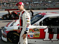 Denny Hamlin, shown at Darlington Raceway in May, won't race Friday night in the Nationwide Series race at Daytona.