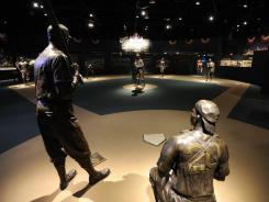 The Field of Legends, the central feature of the Negro Leagues Baseball Museum, has statues of great players on a small baseball diamond.
