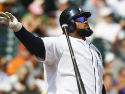 Tigers first baseman Prince Fielder hit a three run home run during the eighth inning to put Detroit up for good against the Minnesota Twins.