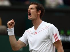 Andy Murray of Britain is on his way to his first Wimbledon final after defeating Jo-Wilfried Tsonga of France.