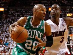 After losing to Dwyane Wade (3) and the Heat in the playoffs the last two years, Ray Allen (20) is leaving Boston to join Wade in Miami.