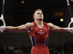 Jonathan Horton competes during the stills rings at the U.S. Olympic trials in San Jose and June 30.