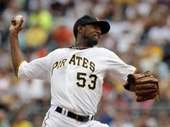James McDonald of the Pirates pitched seven inning, striking out ten and not allowing a walk in Pittsburgh's 3-1 win over the Giants.