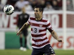Carlos Bocanegra, seen here with the U.S. national team in June, spent 2011-12 with Glasgow Rangers, but the club has been barred from the Scottish Premier League for financial reasons.