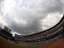 Heavy clouds covered Rangers Ballpark in Arlington during a game between the Minnesota Twins and the Texas Rangers.