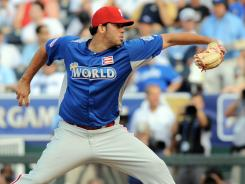 Julio Rodriguez, pitching in the All-Star Futures Game on Sunday in Kansas City, was an eighth-round draft pick by the Phillies in 2008.