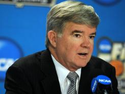 NCAA president Mark Emmert speaks at a 2012 Final Four press conference in New Orleans.