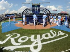 Hosting the stars: American League All-Stars take batting practice Tuesday at Kauffman Stadium in Kansas City, which has not