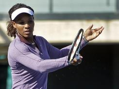 Serena Williams gets in some practice Tuesday before the Bank of the West Classic in Stanford, Calif.