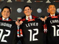 DC United owners, from left, Erick Thohir, Jason Levien, and Will Chang hope to get the club a new home in the coming years.