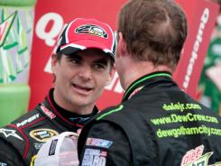 Jeff Gordon, left, congratulates Dale Earnhardt Jr. after his win at Michigan International Speedway in mid-June. Gordon is hoping for a victory celebration to send him into Chase wild-card contention.