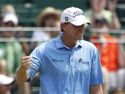 Steve Stricker, shown here after a birdie in 2011, has won the last three John Deere Classics.
