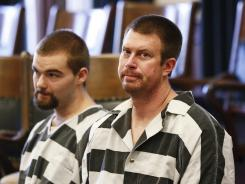 ORG XMIT: MTGRE202 Former NFL quarterback Ryan Leaf, center, sits in a Cascade County courtroom, Tuesday, May 8, 2012, in Great Falls, Mont. Leaf pleaded guilty Tuesday to charges that he broke into a Montana home and illegally possessed painkillers, part of a deal with prosecutors that recommends he spend nine months in a secure drug treatment facility. (AP Photo/The Great Falls Tribune, Larry Beckner) NO SALES