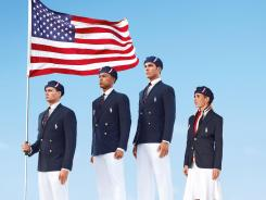 This product image released by Ralph Lauren shows U.S. Olympic athletes — from left, swimmer Ryan Lochte, decathlete Bryan Clay, rower Giuseppe Lanzone and soccer player Heather Mitts — modeling the official Team USA opening ceremony parade uniform.