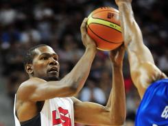 U.S. forward Kevin Durant shoots against the Dominican Republic in the first half at the Thomas and Mack Center.