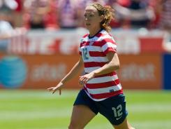 Lauren Cheney controls the ball during the second half against Canada at Rio Tinto Stadium in Sandy, Utah, on June 30.