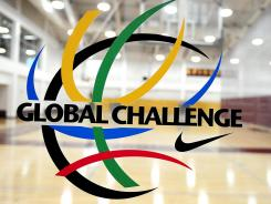 A general view of the Nike Global Challenge logo during the Nike Global Challenge at Episcopal High School in Alexandria, Va. The eight-team tournament runs through Sunday and pits U.S. high school players against top U19 international players.