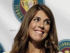 Jennifer Capriati meets the news media Saturday during International Tennis Hall of Fame induction ceremonies.