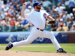 Cubs starting pitcher Ryan Dempster struck out five and walked three in six innings against the Diamondbacks at Wrigley Field.