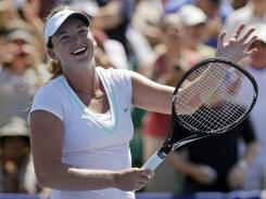 Coco Vandeweghe smiles after defeating Yanina Wickmayer in the semifinals of the Bank of the West Classic.