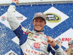 Kasey Kahne celebrates his first career win at New Hampshire Motor Speedway.