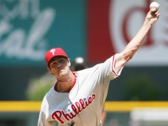 Philadelphia pitcher Cole Hamels had seven strikeouts against the Rockies, earning his first win in three career outings at Coors Field.