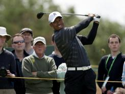 Tiger Woods hits a drive during a practice round at Royal Lytham & St Annes on Sunday in advance of this week's British Open.