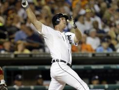 The Tigers' Brennan Boesch hits a two-run homer against the Angels in the seventh inning Monday.