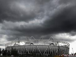 A general view of the Olympic Stadium at Olympic Park on July 17 in London. The damp, cool weather has been a topic of discussion for London organizers.