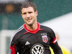 D.C. United forward Chris Pontius, shown April 22 vs. the Red Bulls, is tied for fifth in MLS with nine goals this season.