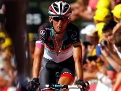 Frank Schleck crosses the finish line during Stage 7 of the Tour de France.