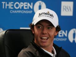 Rory McIlroy of Northern Ireland flashes a smile during his news conference Tuesday.