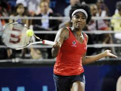 Venus Williams played singles, women's doubles and mixed doubles for the Washington Kastles in a World TeamTennis contest against the Boston Lobsters Monday night.