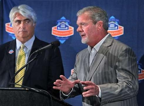 Colts owner Jim Irsay, right, and 2012 Indianapolis Super Bowl