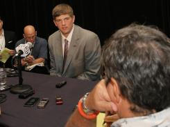 LSU quarterback Zach Mettenberger acknowledged some nerves before stepping into the media spotlight Wednesday.