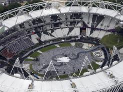 The Olympic Stadium in east London is being prepared for the opening ceremony for the 2012 Olympic summer games, which start on July 27.