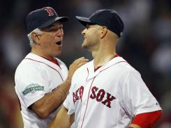 Red Sox manager Bobby Valentine, left, and Cody Ross are all smiles after Boston's 10-1 win over the White Sox.