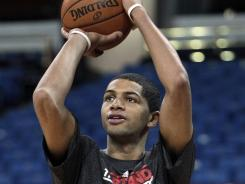Nicolas Batum warms up before a Blazers-Kings game on April 15.